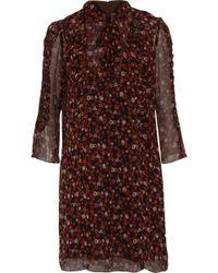 Anna Sui - Pussy-bow Floral-print Georgette Mini Dress - Lyst