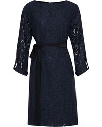 Mikael Aghal Two-tone Guipure Lace And Washed-crepe Dress Navy - Blue