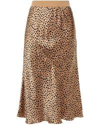 ATM Leopard-print Silk-satin Midi Skirt - Brown