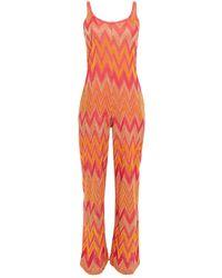 M Missoni Metallic Crochet-knit Jumpsuit - Multicolour