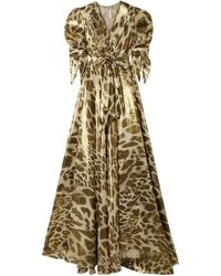 Naeem Khan Wrap-effect Leopard-print Silk-lamé Gown - Metallic