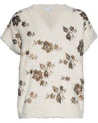 Brunello Cucinelli - Sequin-embellished Frayed Cotton-blend Jumper - Lyst