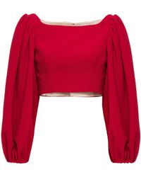 Emilia Wickstead Cropped Gathered Textured Stretch-crepe Top