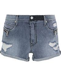 RTA - Zip-embellished Distressed Denim Shorts - Lyst