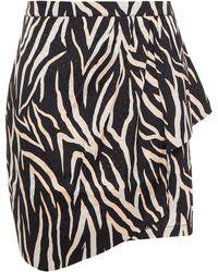 Gestuz Wrap-effect Draped Satin-jacquard Mini Skirt - Black