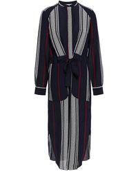 Joie Printed Silk Crepe De Chine Midi Dress - Blue