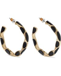 Kenneth Jay Lane 22-karat Gold-plated Enamel Hoop Earrings Black