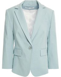 Veronica Beard - Schoolboy Dickey Linen-blend Twill Blazer Sky Blue - Lyst