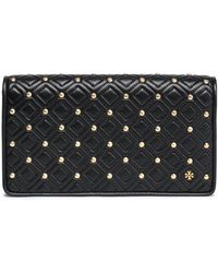 Tory Burch Studded Quilted Leather Clutch Black