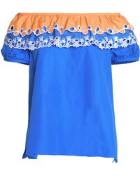 Peter Pilotto - Off-the-shoulder Broderie Anglaise-trimmed Cotton-poplin Top - Lyst