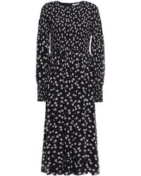 Ganni Rometty Shirred Polka-dot Georgette Midi Dress Midnight Blue