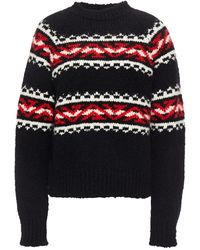 Sandro Fair Isle Jacquard-knit Jumper Black