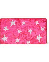 Edie Parker Jean Stars Marbled Acrylic Box Clutch Fuchsia - Pink