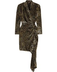 Dodo Bar Or Wrap-effect Ruched Metallic Velvet-jacquard Mini Dress Gold