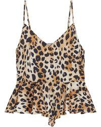 Ronny Kobo Mavis Leopard-print Hammered-satin Peplum Camisole Animal Print - Multicolor