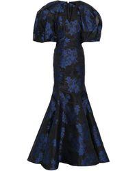 Zac Posen Flared Floral-jacquard Gown Black