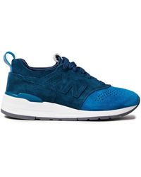 New Balance Two-tone Perforated Suede Trainers - Blue