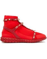Valentino Garavani Rockstud Leather-trimmed Mesh High-top Trainers Tomato Red