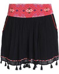 Joie - Posey Tasselled Embroidered Cotton-gauze Mini Skirt - Lyst