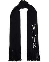 Valentino Garavani Ribbed Jacquard-knit Wool And Cashmere-blend Scarf - Black