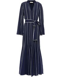 Tory Burch Belted Silk Crepe De Chine Gown - Blue