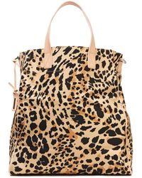 Zimmermann Leather-trimmed Printed Denim Tote Animal Print - Multicolour