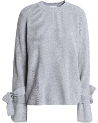 Claudie Pierlot - Bow-embellished Ribbed Wool And Cashmere-blend Jumper - Lyst