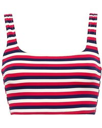 Solid & Striped - The Jamie Striped Ribbed Bikini Top Red - Lyst