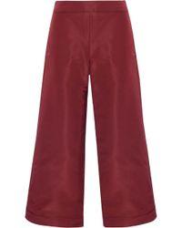 Oscar de la Renta - Cropped Silk-faille Wide-leg Trousers - Lyst