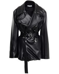 Maison Margiela Double-breasted Belted Faux Leather Jacket - Black