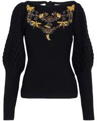 Sachin & Babi Amin Embellished Cable-knit Wool Jumper - Black