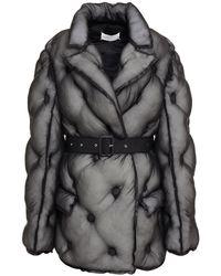 Maison Margiela Belted Quilted Silk-organza Jacket Black