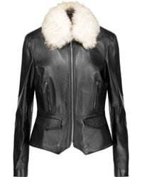 Belstaff - Roxie Shearling-trimmed Leather Jacket - Lyst