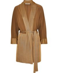 Agnona Belted Silk Crepe De Chine And Knitted Cardigan - Natural