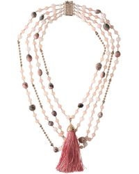 Rosantica - Tasseled Beaded Gold-tone Necklace - Lyst
