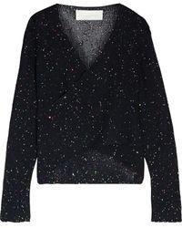 Michelle Mason Wrap-effect Sequin-embellished Cotton-blend Jumper Black