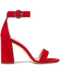 Maje Fariaz Suede Sandals - Red