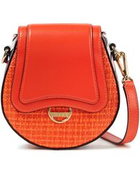 Emilio Pucci Dora Mini Printed Leather And Faux Raffia Shoulder Bag Bright Orange