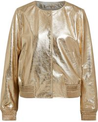 Meteo by Yves Salomon - Woman Metallic Leather Bomber Jacket Gold - Lyst