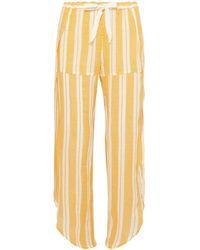 lemlem Fly Away Asymmetric Striped Cotton-gland Gauze Pants - Yellow