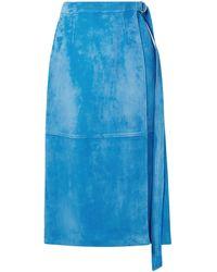 Sally Lapointe Wrap-effect Belted Suede Midi Skirt Größe 2 - Blue