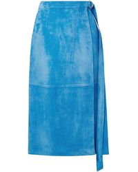 Sally Lapointe Belted Wrap-effect Suede Midi Skirt - Blue