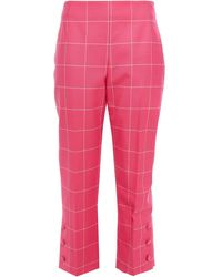 Lela Rose Cropped Embellished Checked Wool Straight-leg Pants - Pink