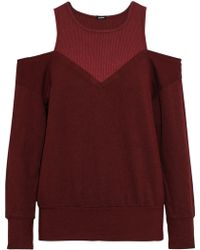 Monrow Cold-shoulder Ribbed Jersey-paneled French Terry Sweatshirt Burgundy - Multicolour