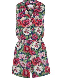 Onia Shirred Floral-print Cotton-poplin Playsuit - Multicolour