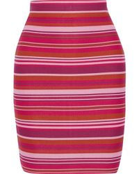 Hervé Léger Hervé Léger Striped Jacquard-knit Mini Pencil Skirt Pink
