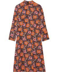 Marni - Floral-print Faille Midi Dress - Lyst