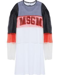 MSGM - Layered Color-block Silk-organza And Printed Cotton-jersey Dress - Lyst