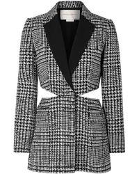 Carolina Herrera Cutout Houndstooth Wool And Silk-blend Blazer - Black