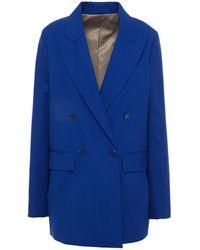JOSEPH Double-breasted Wool-crepe Blazer - Blue